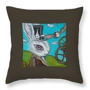 Time Flies For The White Rabbit Throw Pillow