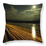 Time Lapse Of Lights From Boats Moving Throw Pillow