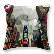 Time Square Mixed Media Throw Pillow