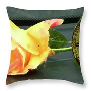 Time To Give A Rose - Yellow And Pink Rose - Clock Face Throw Pillow