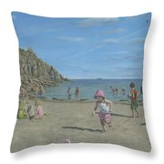 Time To Go Home - Porthgwarra Beach Cornwall Throw Pillow