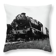 Time Travel By Steam B/w Throw Pillow
