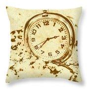 Time Worn Vintage Pocket Watch Throw Pillow
