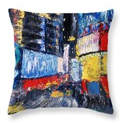 Times Square Abstracted Throw Pillow