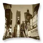 Times Square Ny Overlooking The Square Sepia Throw Pillow