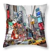 Times Square Pop Art Throw Pillow