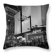 Times Square Subway Stop At Night New York Ny Black And White Throw Pillow