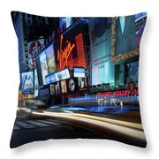 Times Square With Light Trail Throw Pillow