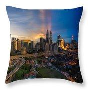 Timeslice Of Day To Night Of Kuala Lumpur City Throw Pillow
