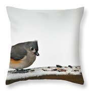 Timouse Eating Seads Throw Pillow