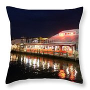 Tin City At Night -naples Fl Throw Pillow