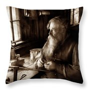 Tin Smith - Making Toys For Children - Sepia Throw Pillow