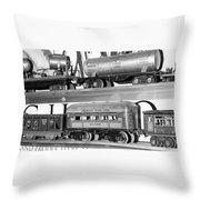 Tin Toy Trains Throw Pillow
