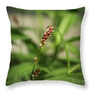 Tiny Bee On Wildflower Throw Pillow