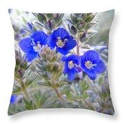 Tiny Blue Floral Throw Pillow