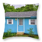 Tiny Blue House Throw Pillow