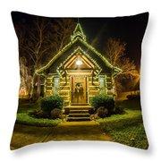 Tiny Chapel With Lighting At Night Throw Pillow