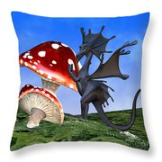 Tiny Fury Dragon Throw Pillow