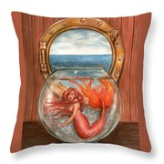Tiny Mermaid Throw Pillow