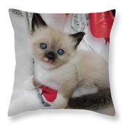Tiny Micro Version Of Red White And Ragdoll Kitty Kitten Baby Cat Silktapestrykittenstm Throw Pillow