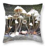 Tiny Mushrooms On The Step Throw Pillow by Carrie Viscome Skinner