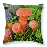 Tiny Orange Mushrooms In Moss Throw Pillow
