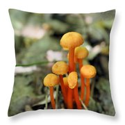 Tiny Orange Mushrooms Throw Pillow