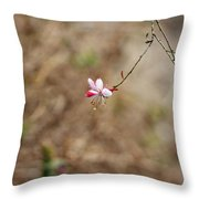 Tiny Red And White Wildflowers Throw Pillow