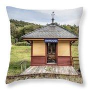 Tiny Train Station Barnet Vermont Throw Pillow