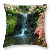 Tiny Waterfall In Japanese  Garden.the Butchart Gardens,victoria.canada. Throw Pillow
