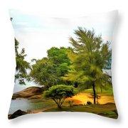 Tioman Island Beach Throw Pillow