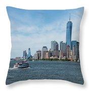 Tip Of Manhattan Wide Throw Pillow
