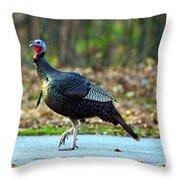 Tiptoe Turkey Trot Throw Pillow