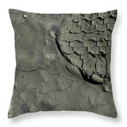 Tire Track In Gray Mud Throw Pillow