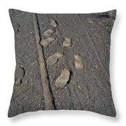 Tire Tracks And Foot Prints Throw Pillow
