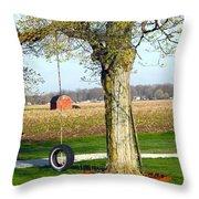 Tree Tire Swing  Throw Pillow