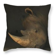 Tired Rhino Throw Pillow