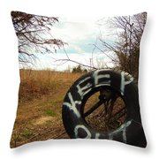 Tired Sign Says Keep Out Throw Pillow