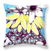 Tired Turtle With Bananas And Blooms Throw Pillow