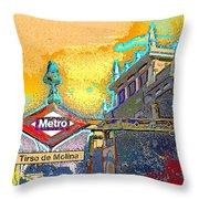 Tirso De Molina Metro Entrance Madrid Throw Pillow