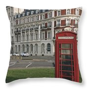 Titanic Hotel And Red Phone Box Throw Pillow