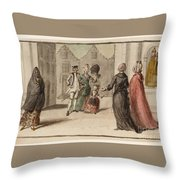 Title A Continental Street Scene With A Shrine Throw Pillow