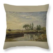 Title Barge Below Flatford Lock Throw Pillow