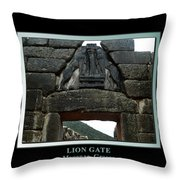 Titled Lion Gate Of Mycenae Throw Pillow