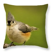 Titmouse Ready To Jump And Fly Throw Pillow
