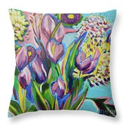 Pink Floral On Blue Throw Pillow