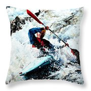To Conquer White Water Throw Pillow