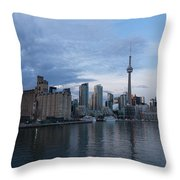 T O Harbour In Blue Throw Pillow