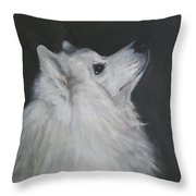 To Live With A White Dog Throw Pillow
