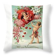 To My Valentine Vintage Romantic Greetings Throw Pillow